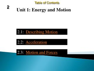 Chapter 2:  Motion