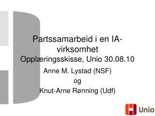 Partssamarbeid i en IA-virksomhet Opplæringsskisse, Unio 30.08.10