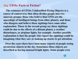 Text  UFOs: Facts or Fiction?
