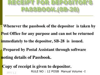 Receipt For Depositor's Passbook.(SB-28)