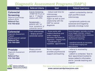 Diagnostic Assessment Programs (DAP's)