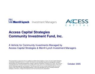 Access Capital Strategies  Community Investment Fund, Inc.