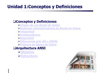 Conceptos y Definiciones Origen de Las Bases de Datos Sistemas administradores de Bases de Datos