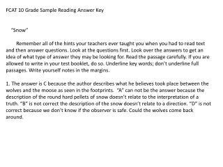 "FCAT 10 Grade Sample Reading Answer Key     ""Snow"""