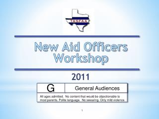 New Aid Officers Workshop  2011
