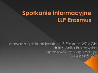 Spotkanie informacyjne LLP Erasmus