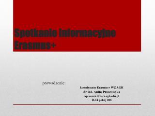 Spotkanie informacyjne Erasmus+