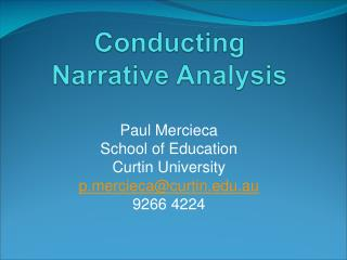 Conducting  Narrative Analysis