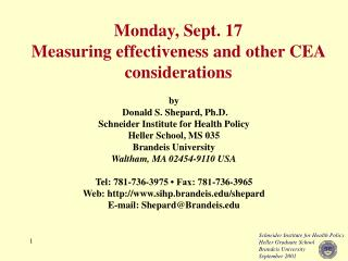 Monday, Sept. 17 Measuring effectiveness and other CEA considerations