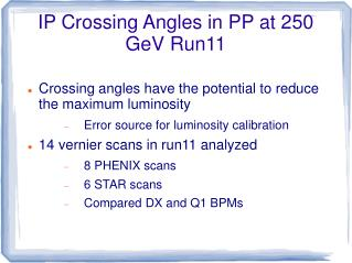 IP Crossing Angles in PP at 250 GeV Run11