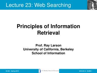 Lecture 23: Web Searching