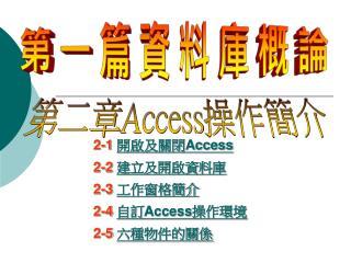 2-1  開啟及關閉 Access 2-2  建立及開啟資料庫 2-3  工作窗格簡介 2-4  自訂 Access 操作環境 2-5  六種物件的關係