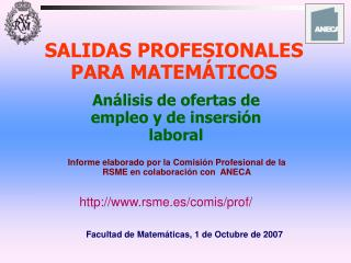 SALIDAS PROFESIONALES PARA MATEM TICOS