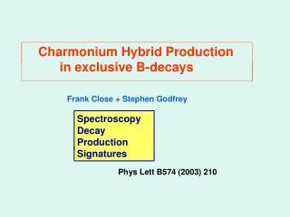 Charmonium Hybrid Production           in exclusive B-decays