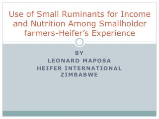 Use of Small Ruminants for Income and Nutrition Among Smallholder farmers-Heifer's Experience
