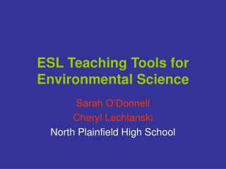 ESL Teaching Tools for Environmental Science