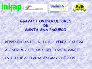 REPRESENTANTE: LIC. LUIS C. PEREZ HIGUERA ASESOR: M.V.Z. FLAVIO DEL TORO ALVAREZ