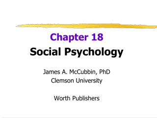 Chapter 18 Social Psychology James A. McCubbin, PhD Clemson University Worth Publishers