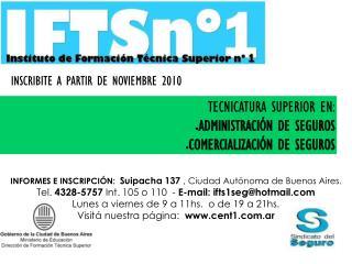 TECNICATURA SUPERIOR EN: ADMINISTRACIÓN DE SEGUROS COMERCIALIZACIÓN DE SEGUROS