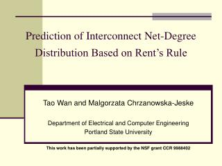 Prediction of Interconnect Net-Degree Distribution Based on Rent's Rule