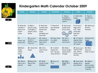 Kindergarten Math Calendar October 2009