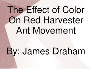 The Effect of Color On Red Harvester Ant Movement By: James Draham