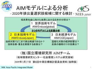 AIM モデルによる分析 -  2020 年排出量 選択肢候補に関する検討  -