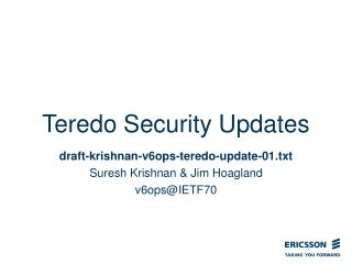 Teredo Security Updates