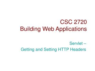 CSC 2720 Building Web Applications