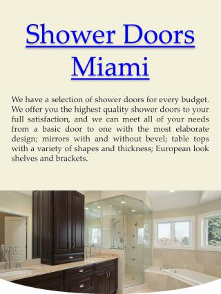 Frameless Shower Doors Fort Lauderdale
