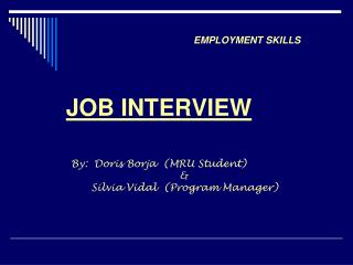 DOS AND DON'T'S OF JOBS INTERVIEWS