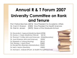 Annual R & T Forum 2007
