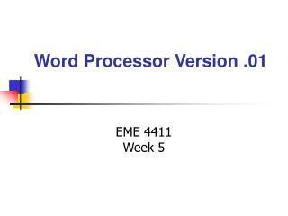 Word Processor Version .01