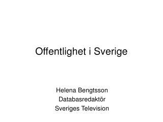 Offentlighet i Sverige