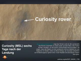 Curiosity (MSL) sechs Tage nach der Landung