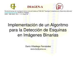 Implementación de un Algoritmo para la Detección de Esquinas en Imágenes Binarias