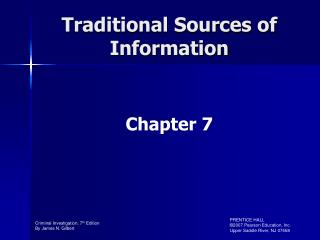 Traditional Sources of Information