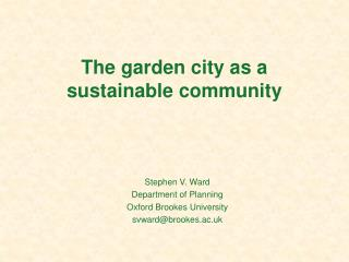 The garden city as a sustainable community