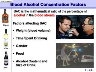 Blood Alcohol Concentration Factors