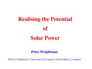 Realising the Potential  of  Solar Power