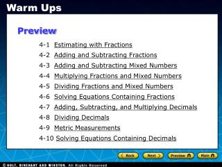 4-1   Estimating with Fractions 4-2   Adding and Subtracting Fractions
