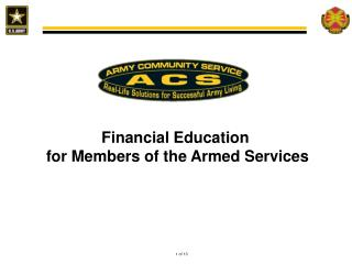 Financial Education  for  M embers  of the Armed Services