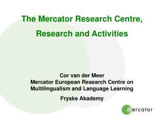 The Mercator Research Centre, Research and Activities
