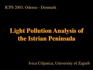 Light Pollution Analysis of the Istrian Peninsula