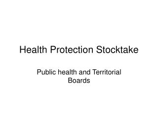 Health Protection Stocktake