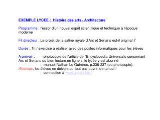 EXEMPLE LYCEE :Histoire des arts / Architecture