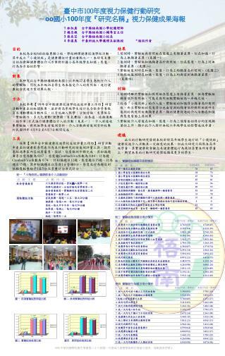 臺中市 100 年度視力保健行動研究 - oo 國小 100 年度 『 研究名稱 』 視力保健成果海報