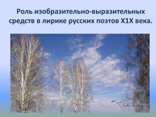 Роль изобразительно-выразительных средств в лирике русских поэтов Х1Х века.