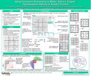 CP for Sudoku Study & compare the effectiveness of constraint propagation algorithms