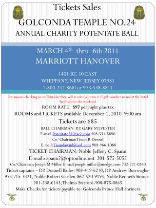 Tickets Sales GOLCONDA TEMPLE NO.24 ANNUAL CHARITY POTENTATE BALL